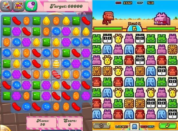 Tanto Candy Crush Saga quanto ZooKeeper Battle combinam peças em um tabuleiro (Foto: Reprodução)