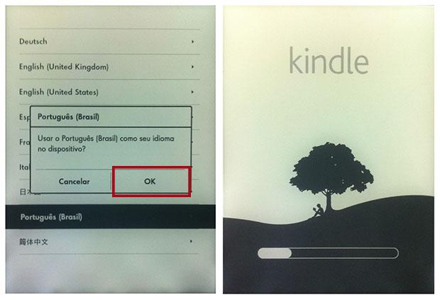 Assim que é ligado, o Kindle pede para escolher o idioma do sistema (Imagem: Reprodução / Daniel Pinto)