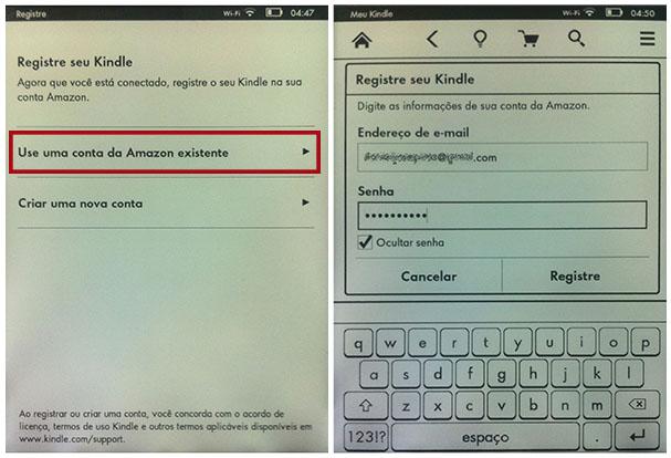 Para utilizar os serviços da Amazon para o Kindle, é necessário registrá-lo (Imagem: Reprodução / Daniel Pinto)