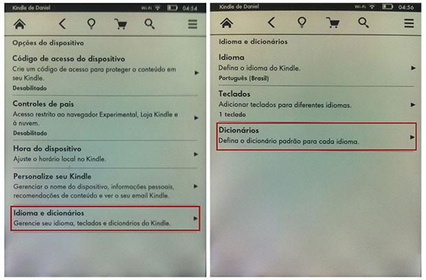 Existe um menu para configurar todas as opções de idiomas e dicionários no Kindle (Imagem: Reprodução / Daniel Pinto)