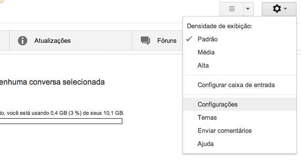 Abrindo configurações do Gmail (Foto: Reprodução/Helito Bijora)