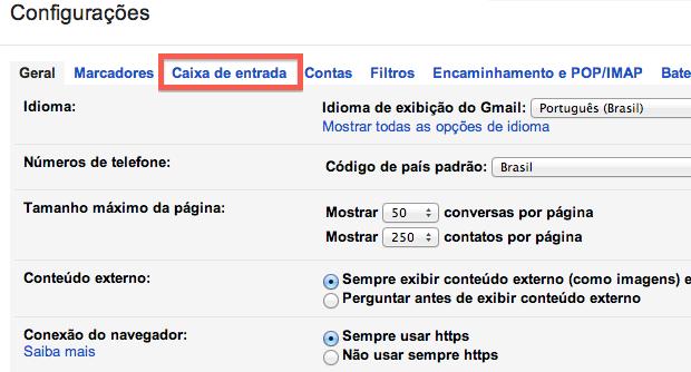 Configurações do Gmail (Foto: Reprodução/Helito Bijora)