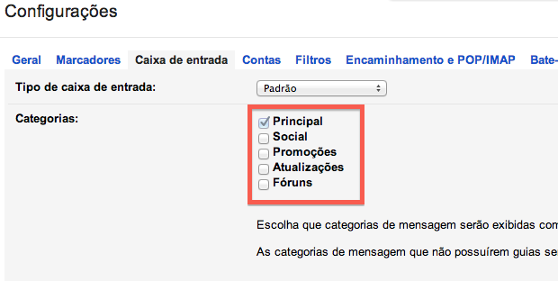 Desativando novo caixa de entrada do Gmail (Foto: Reprodução/Helito Bijora)