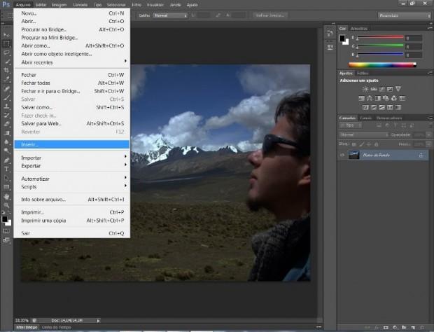 """Caminho para a opção """"Inserir"""" no Photoshop (Foto: Reprodução/Daniel Ribeiro)"""