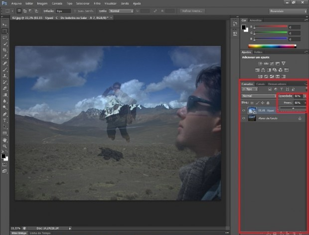 Controle da opacidade da camada em destaque na paleta do Photoshop (Foto: Reprodução/Daniel Ribeiro)