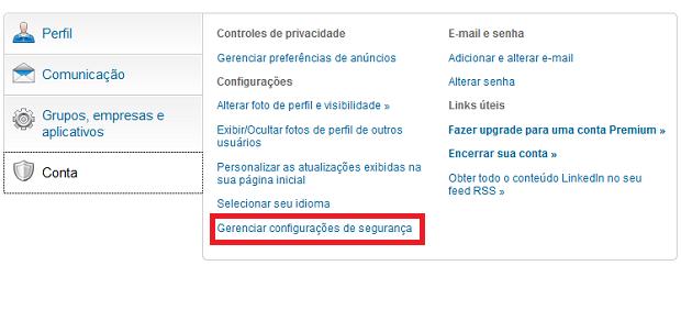 """Clique em """"Gerenciar configuraçãoes de segurnaça"""" (Foto: Reprodução/Edivaldo Brito)"""