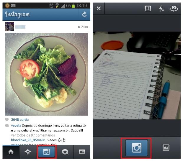 Página inicial do Instagram e câmera do aplicativo (Foto: Reprodução/Lívia Dâmaso)