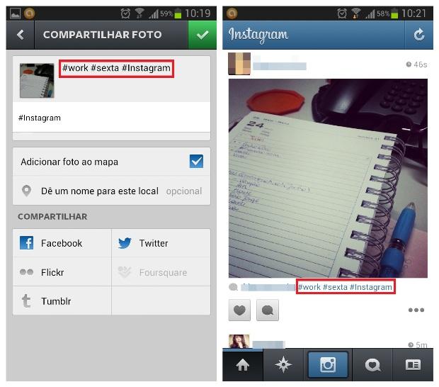 Inserindo hashtags na foto no Instagram (Foto: Reprodução/Lívia Dâmaso)