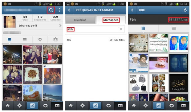 Busca por hashtags na rede social (Foto: Reprodução/Lívia Dâmaso)