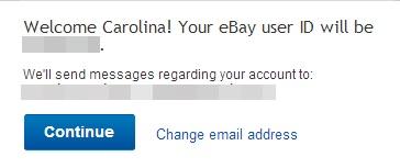 Aviso de que um e-mail sobre o eBay será enviado para o seu correio eletrônico (Foto: Reprodução)