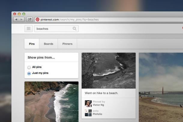 Pinterest agora tem busca pelos próprios pins do usuário (Foto: Divulgação)