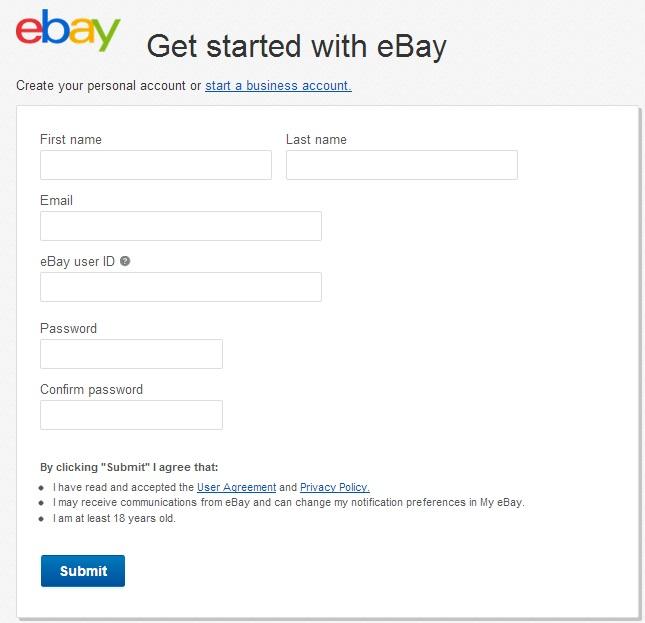 Preenchendo formulário para se cadastrar no eBay