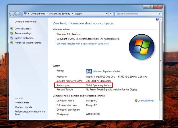 Windows 7 professional - arquitetura de 32 bits (Foto: Reprodução/Thiago Bittencourt) (Foto: Windows 7 professional - arquitetura de 32 bits (Foto: Reprodução/Thiago Bittencourt))