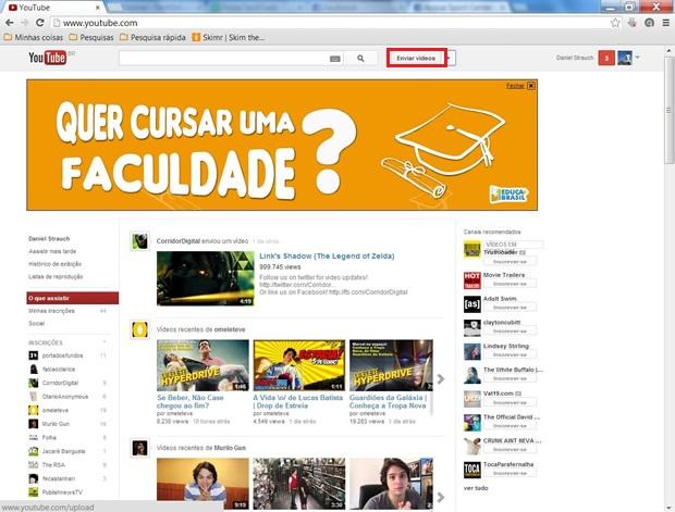 """Aperte no botão """"Enviar vídeos"""" (Foto: Reprodução/ Daniel Ribeiro)"""