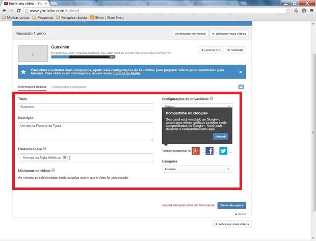 Escreva as informações sobre o vídeo enquanto o processo de upload ocorre (Foto: Reprodução/ Daniel Ribeiro)