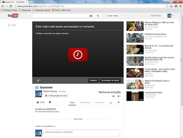 Aguarde enquanto a centra de processamento de dados do YouTube analisa o seu upload (Foto: Reprodução/ Daniel Ribeiro)