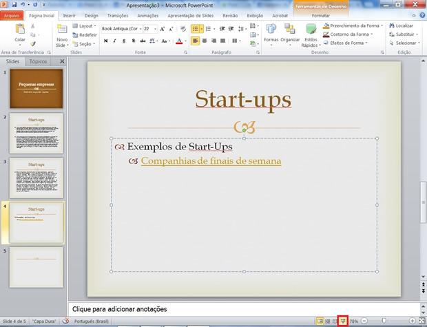 """Selecione o botão """"Apresentação de Slides"""" no PowerPoint para checar se a ação está funcionando (Foto: Reprodução/ Daniel Ribeiro)"""