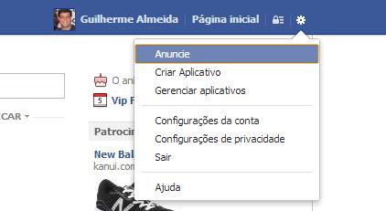 Para realizar posts com ações seu Facebook deve estar em Inglês (Reprodução/ Guilherme Godin)