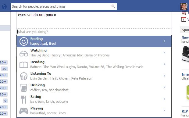 Escolha uma das ações listadas pela rede social (Reprodução/ Guilherme Godin)