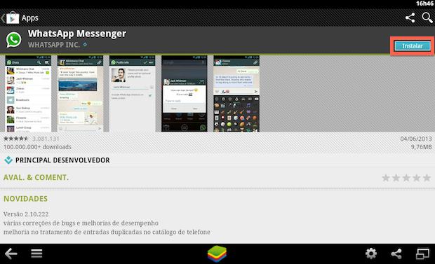 Whatsapp para pc - Clique em Instalar