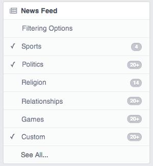 Imagine poder filtrar, por assunto, o feed de notícias no Facebook (Foto: Reprodução / AllFacebook.com)
