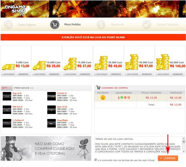 Escolha seu pacote de CASH no ONGAMESHOP (Foto: TechTudo)