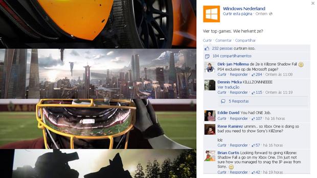 Página holandesa da Microsoft faz propaganda de Killzone: Shadow Fall (Foto: Reprodução)