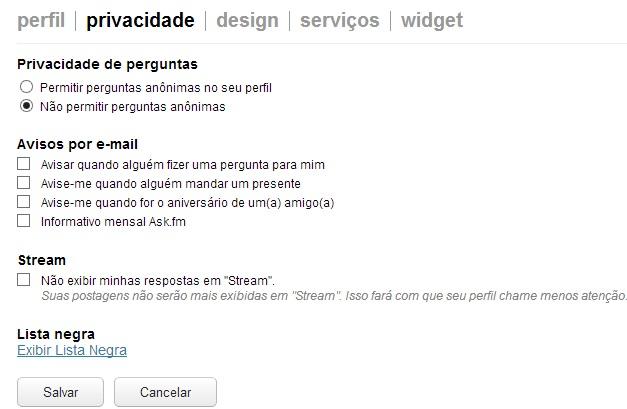Alterando a privacidade de perguntas no Ask.fm  (Foto: Reprodução)
