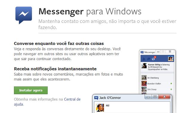 Tela para instalar o Facebook Messenger para Windows (Foto: Aline Jesus/Reprodução)