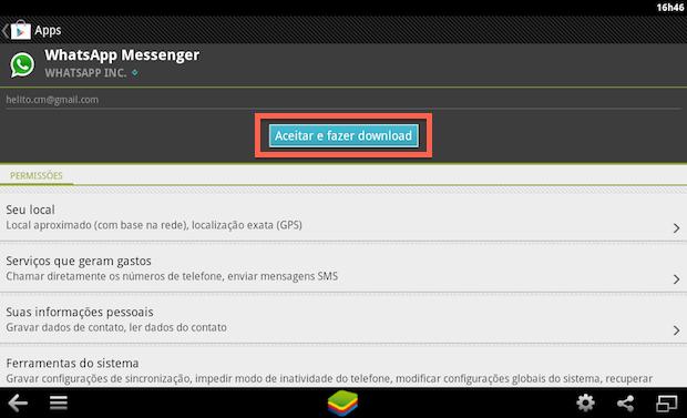 Instalando WhatsApp no BlueStacks (Foto: Reprodução/Helito Bijora)
