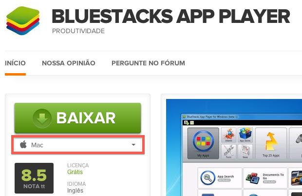 Baixando o BlueStack (Foto: Reprodução/Helito Bijora)