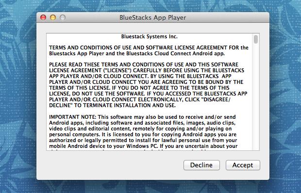 Termos de licença do BlueStack (Foto: Reprodução/Helito Bijora)