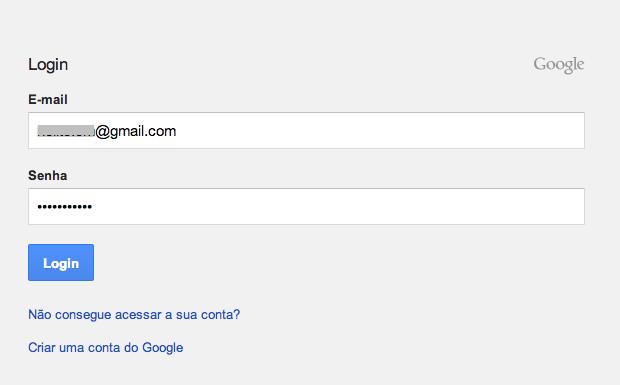 Efetuando login no Google (Foto: Reprodução/Helito Bijora)
