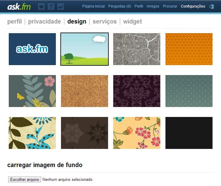 Escolhendo uma imagem de fundo no Ask.fm (Foto: Reprodução)