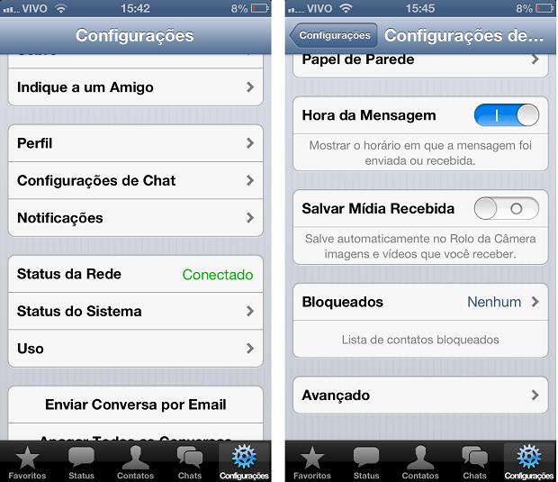 Para sair do WhatsApp é necessário acessar as configurações de chat (Foto: Aline Jesus/Reprodução)
