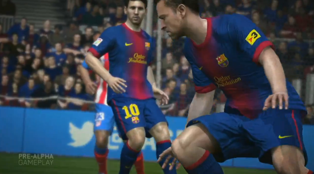 Trechos de partida virtual entre Barcelona e Atlético de Madrid foram usados no trailer (Foto: Reprodução/TechTudo) (Foto: Trechos de partida virtual entre Barcelona e Atlético de Madrid foram usados no trailer (Foto: Reprodução/TechTudo))