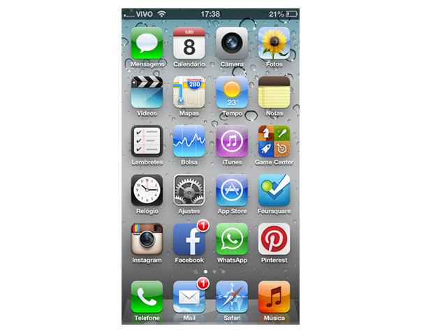 Tela principal com aplicativos do iPhone (Foto: Aline Jesus/Reprodução)