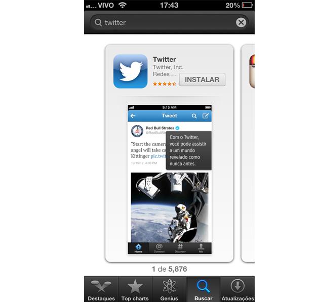 Instalando o Twitter no iPhone (Foto: Aline Jesus/Reprodução)