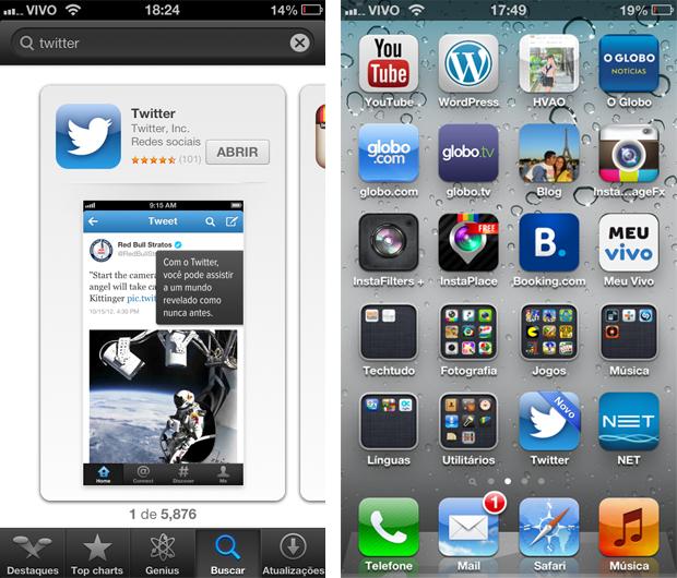 Twitter instalado no iPhone (Foto: Aline Jesus/Reprodução) (Foto: Twitter instalado no iPhone (Foto: Aline Jesus/Reprodução))