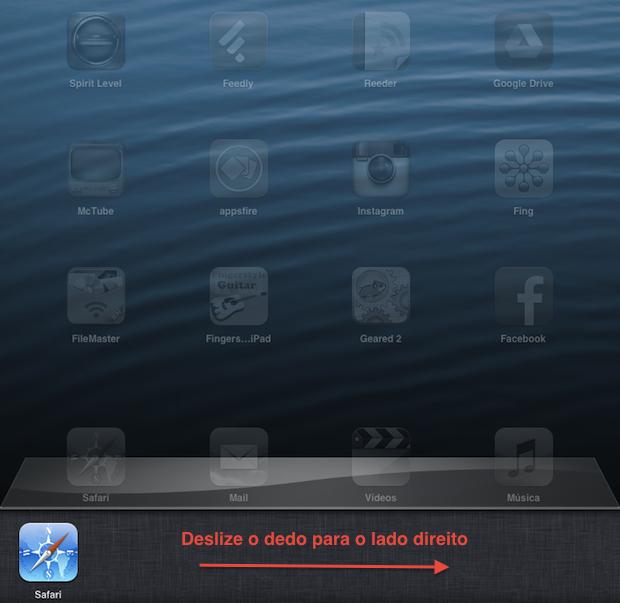 No seu dispositivo iOS, acesse a barra multitarefa (Foto: Reprodução/Thiago Bittencourt)