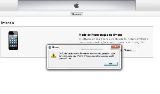 iPhone em modo DFU localizado pelo iTunes (Foto: Reprodução/Edivaldo Brito)