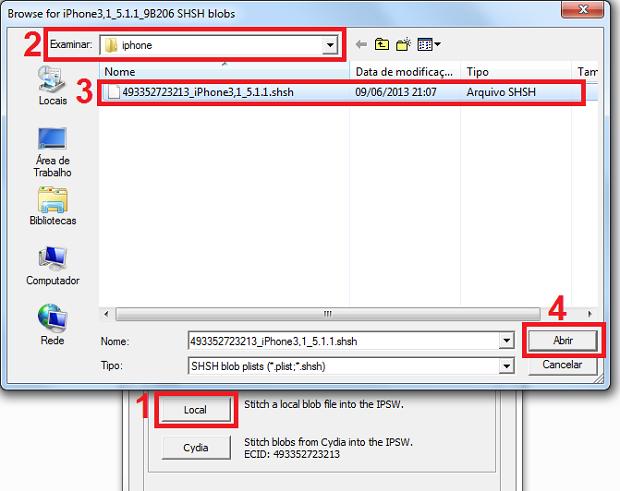 Selecionando o arquivo SHSH para inserir para inserir no arquivo iPSW (Foto: Reprodução/Edivaldo Brito)