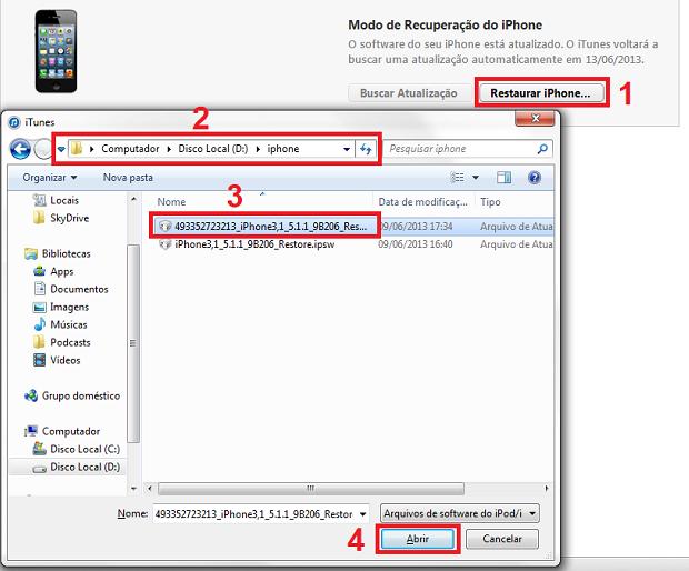 Restaurando o iPhone com o firmware personalizado (Foto: Reprodução/Edivaldo Brito)