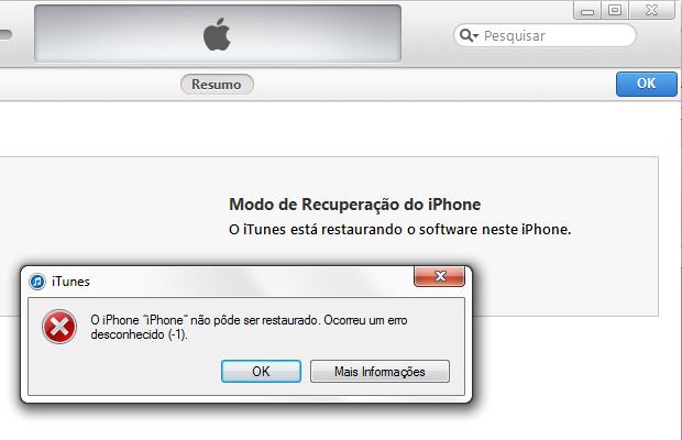 """iTunes exibindo """"erro -1"""" após restauração (Foto: Reprodução/Edivaldo Brito)"""
