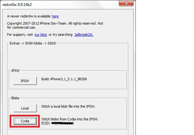 """Clicando em """"Cydia"""" para inserir o SHSH no arquivo iPSW (Foto: Reprodução/Edivaldo Brito)"""
