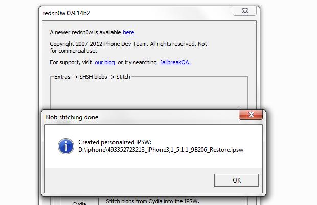 Redsn0w confirmando que gerou um arquivo IPSW (Foto: Reprodução/Edivaldo Brito)