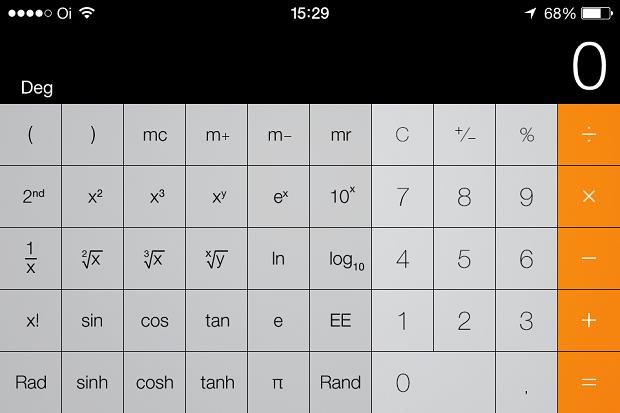 Nova calculadora do iOS 7 (Foto: Reprodução/Edivaldo Brito)