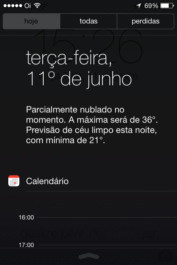 Nova Central de Notificações do iOS 7 (Foto: Reprodução/Edivaldo Brito)