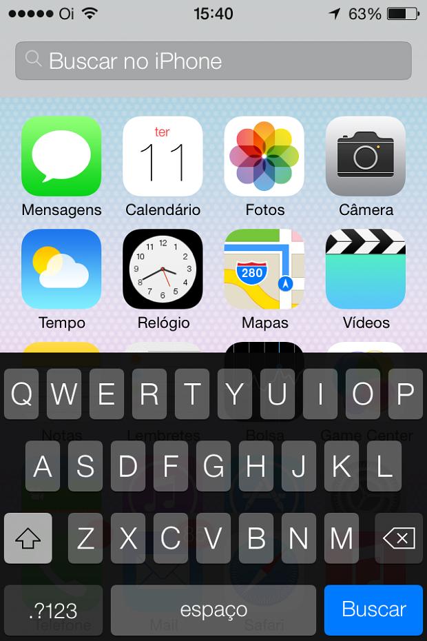 Spotlight está embutido na tela principal do iOS (Foto: Reprodução/Edivaldo Brito)