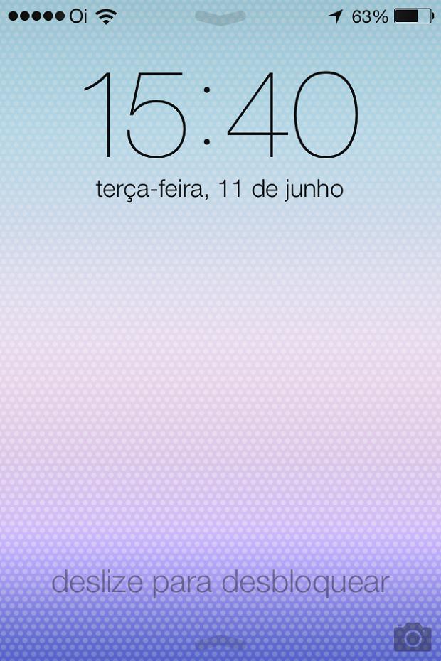 Tela de bloqueio do iOS 7 (Foto: Reprodução/Edivaldo Brito)